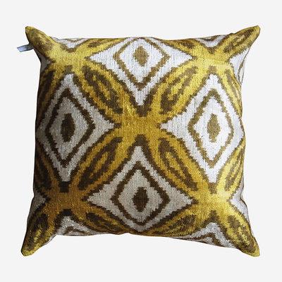 LES OTTOMANS Silk Velvet Double Sided Cushion - Yellow, White  60x60