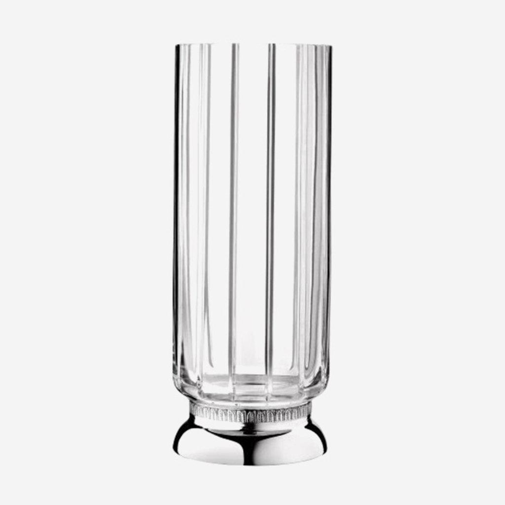 CHRISTOFLE Malmaison Vase Moyenne En Cristale Et Argent Chaque 11 1/5'' - 28.5 Cm