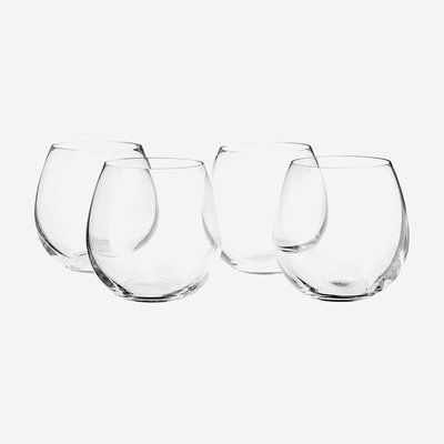 VILLEROY & BOCH Entree Stemless Red Wine Glasses Set of 4 - Clear
