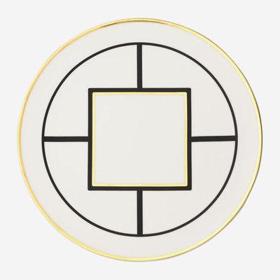 VILLEROY & BOCH MetroChic Cake Plate - White, Black & Gold