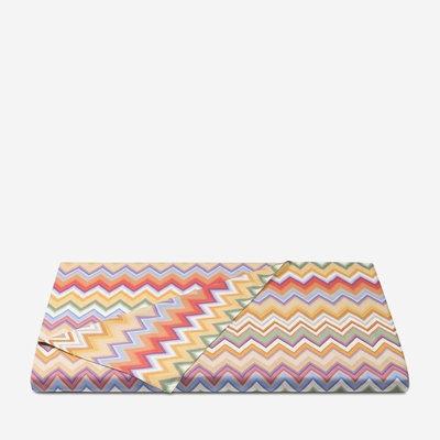 "MISSONI HOME Andres Queen Size Linen Duvet Cover 94""x92"" - Zig Zag Pattern 159"