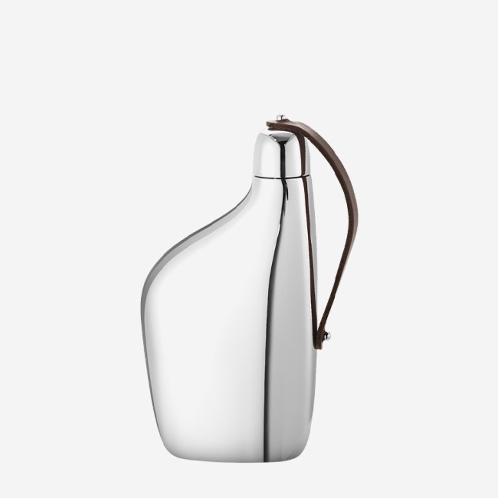 GEORG JENSEN Sky Hip Flask in Polished Stainless Steel & Leather