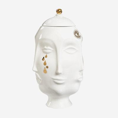 JONATHAN ADLER Vase Frida Muse doré - Blanc et or