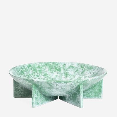 JONATHAN ADLER Berlin Low Decorative Bowl - Turquoise & White