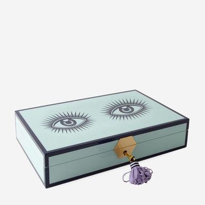 JONATHAN ADLER Le Wink Lacquer Boîte à bijoux - Turquoise, Lavender & Black