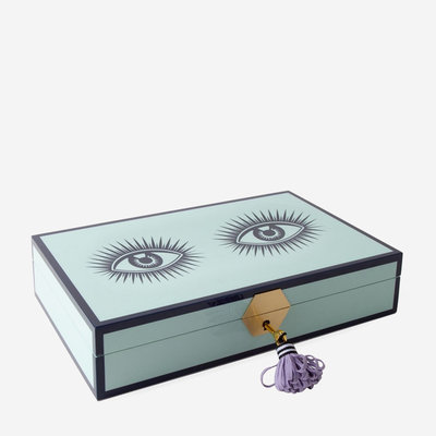JONATHAN ADLER Le Wink Lacquer Jewelry Box - Turquoise, Lavender & Black