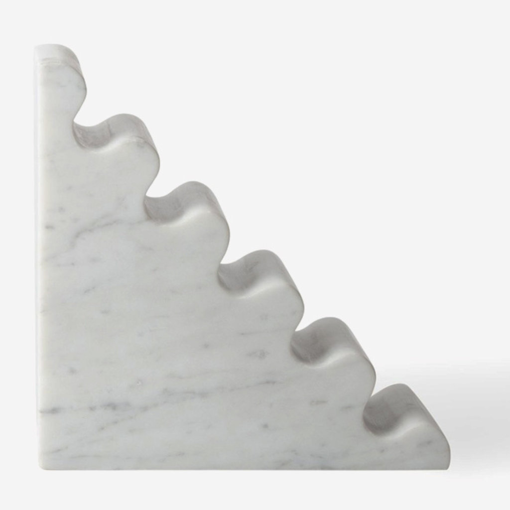 JONATHAN ADLER Marble Ripple Bookend Set - White & Grey