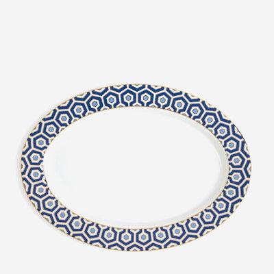 JONATHAN ADLER Newport Plateau Oval Bleu Marin / Or