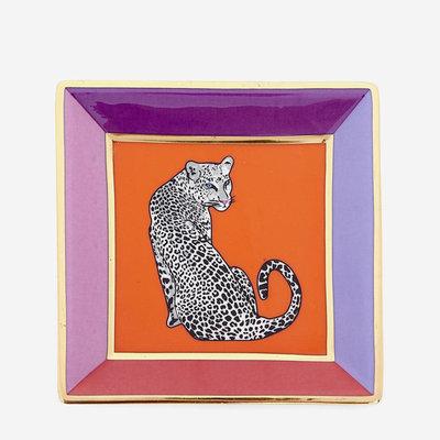 JONATHAN ADLER Plateau carré Safari - Violet, rouge, or, orange