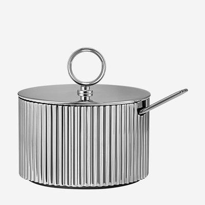 GEORG JENSEN Bernadotte Stainless Steel Sugar Bowl with Spoon