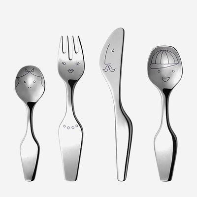 GEORG JENSEN Alfredo The Twist Family Children's Flatware Set of 4 - Silver