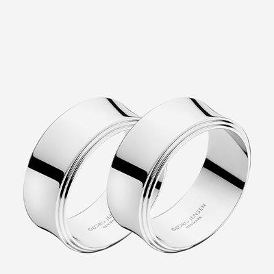 GEORG JENSEN Pyramid Napkin Rings Set of 2 - Silver
