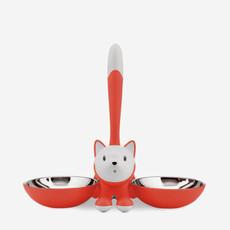 ALESSI Tigrito Cat Food & Water Bowl - Red Orange