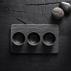 VILLEROY & BOCH Manufacture Rock 4pc Dip Bowl & Serving Tray - Black