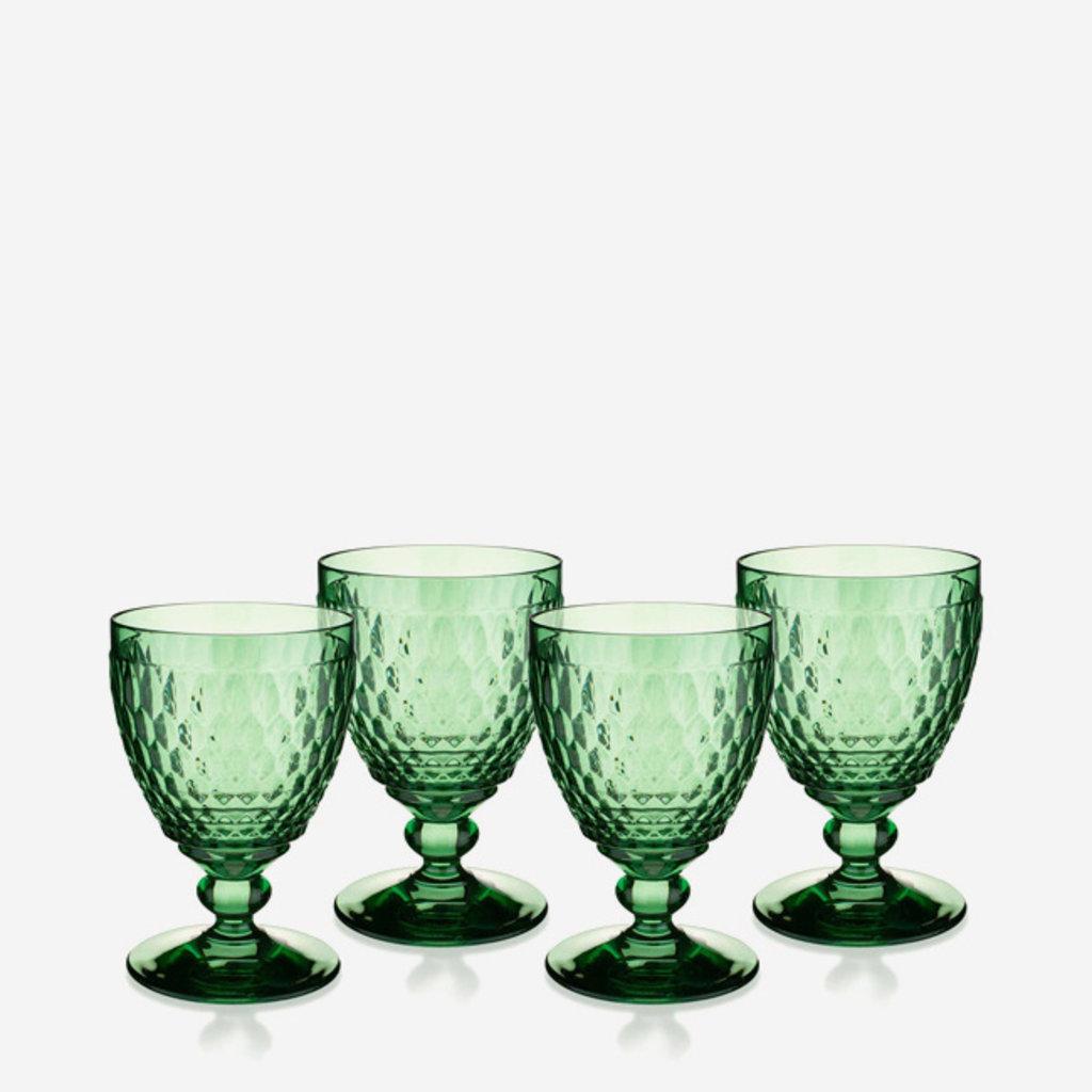 VILLEROY & BOCH Boston Colored Water Goblet Set Of 4 Green 14 Oz