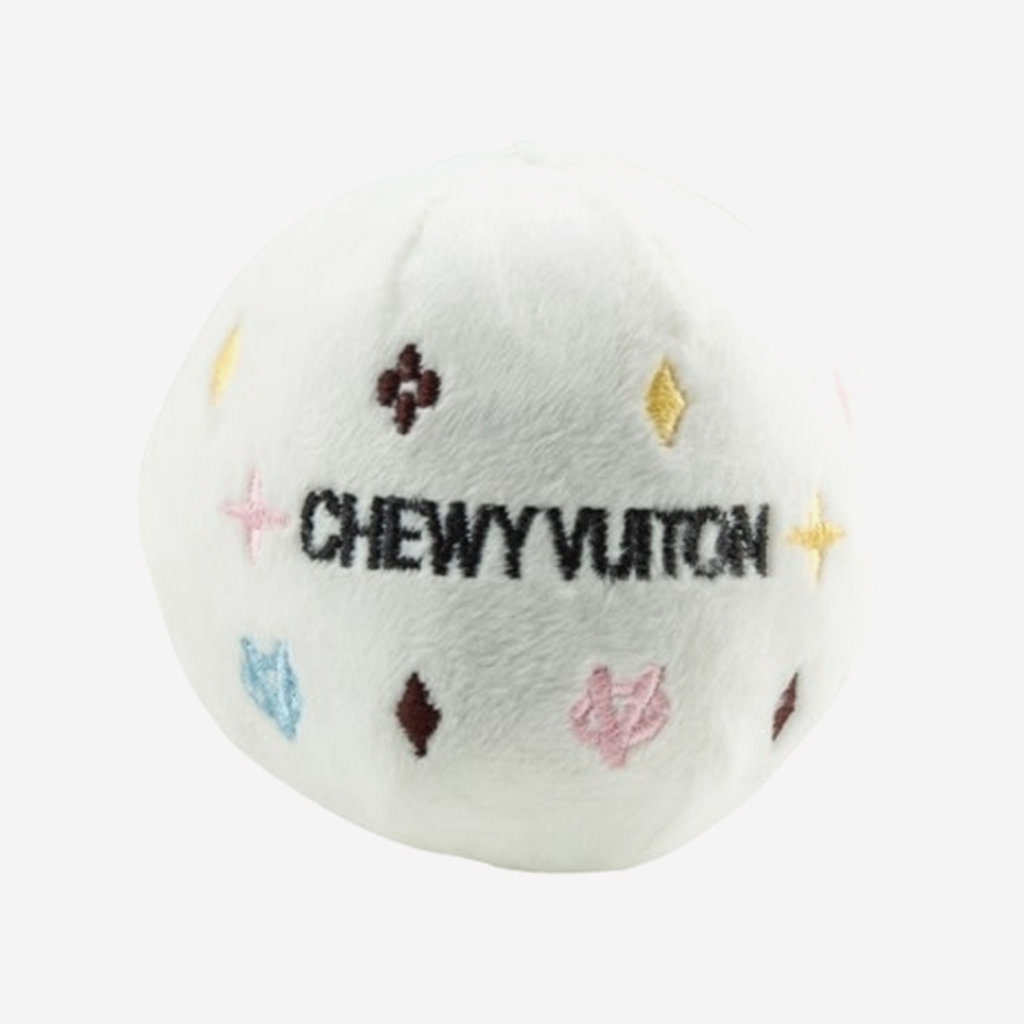 HAUTE DIGGITY DOG Chewy Vuiton Ball Dog Toy - White
