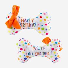 HAUTE DIGGITY DOG Happy Birthday Bone Dog Toy - Multicolour