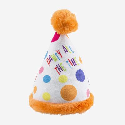 HAUTE DIGGITY DOG Happy Birthday Pawty Hat Dog Toy - Multicolour