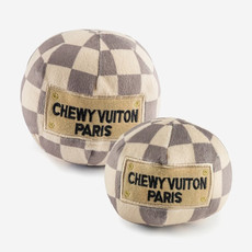 HAUTE DIGGITY DOG Large Checker Chewy Vuiton Ball Dog Toy - Beige
