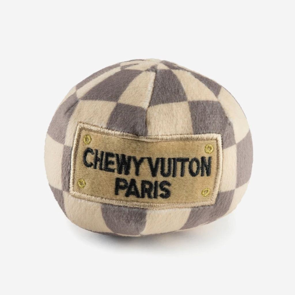 HAUTE DIGGITY DOG Small Checker Chewy Vuiton Ball Dog Toy - Beige