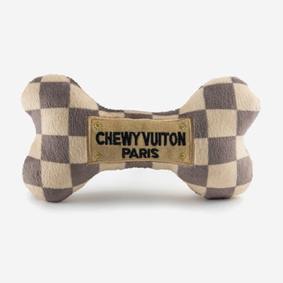 HAUTE DIGGITY DOG Checker Chewy Vuiton Bone Dog Toy - Beige