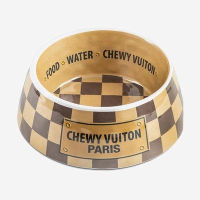 HAUTE DIGGITY DOG Checker Chewy Vuiton Bowl - Beige