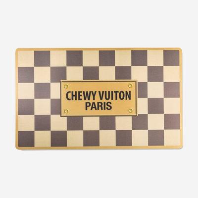 HAUTE DIGGITY DOG Checker Chewy Vuiton Dog Floor Mat - Brown