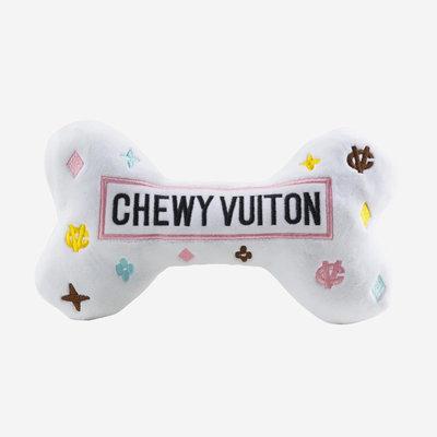 HAUTE DIGGITY DOG Chewy Vuiton Bone Dog Toy - White