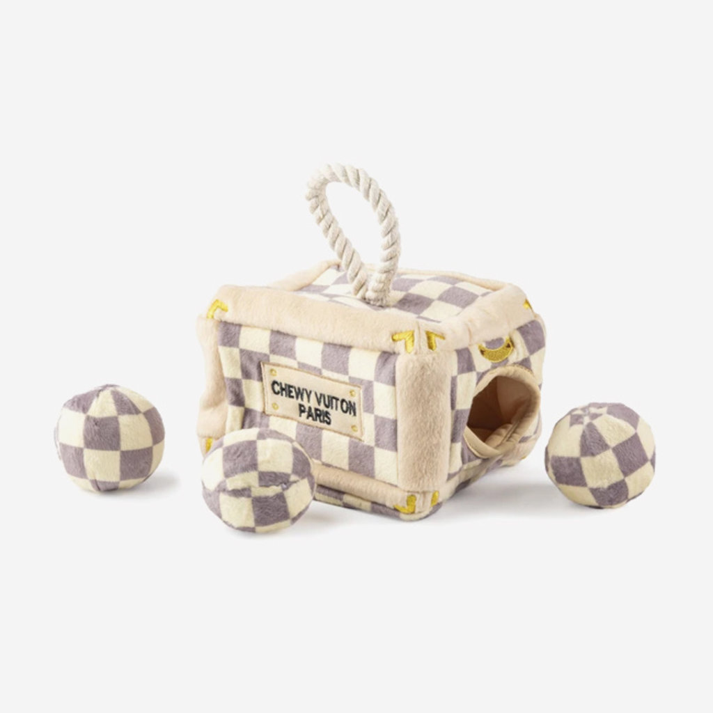 HAUTE DIGGITY DOG Checker Chewy Vuiton Trunk Dog Toy - Brown
