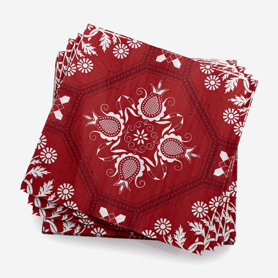 LE JACQUARD FRANCAIS Hacienda Paper Napkin - Red