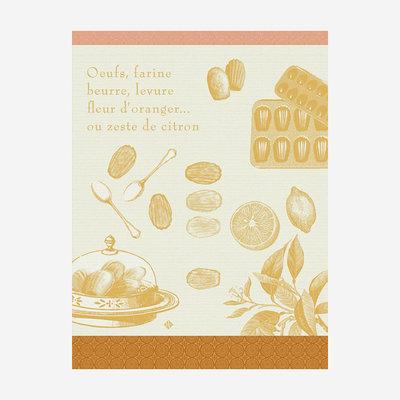 LE JACQUARD FRANCAIS Recettes Madeleines Tea Towel - Yellow