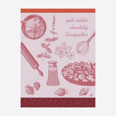 LE JACQUARD FRANCAIS Recettes Tarte Aux Fraises Tea Towel - Pink