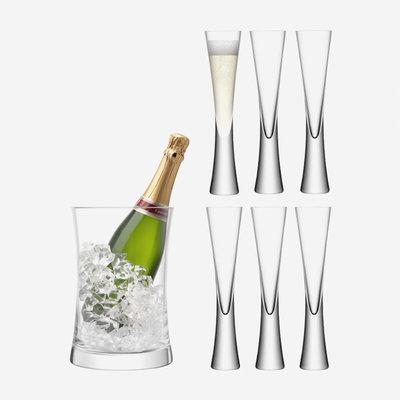LSA Moya Champagne Bucket & 6 Champagne Flutes - Clear