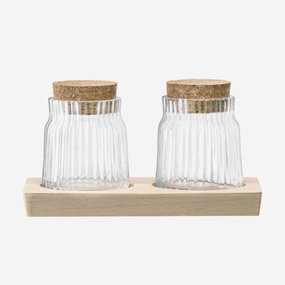 LSA Gio Line Container Set & Cork Stoppers & Beech Base - Clear