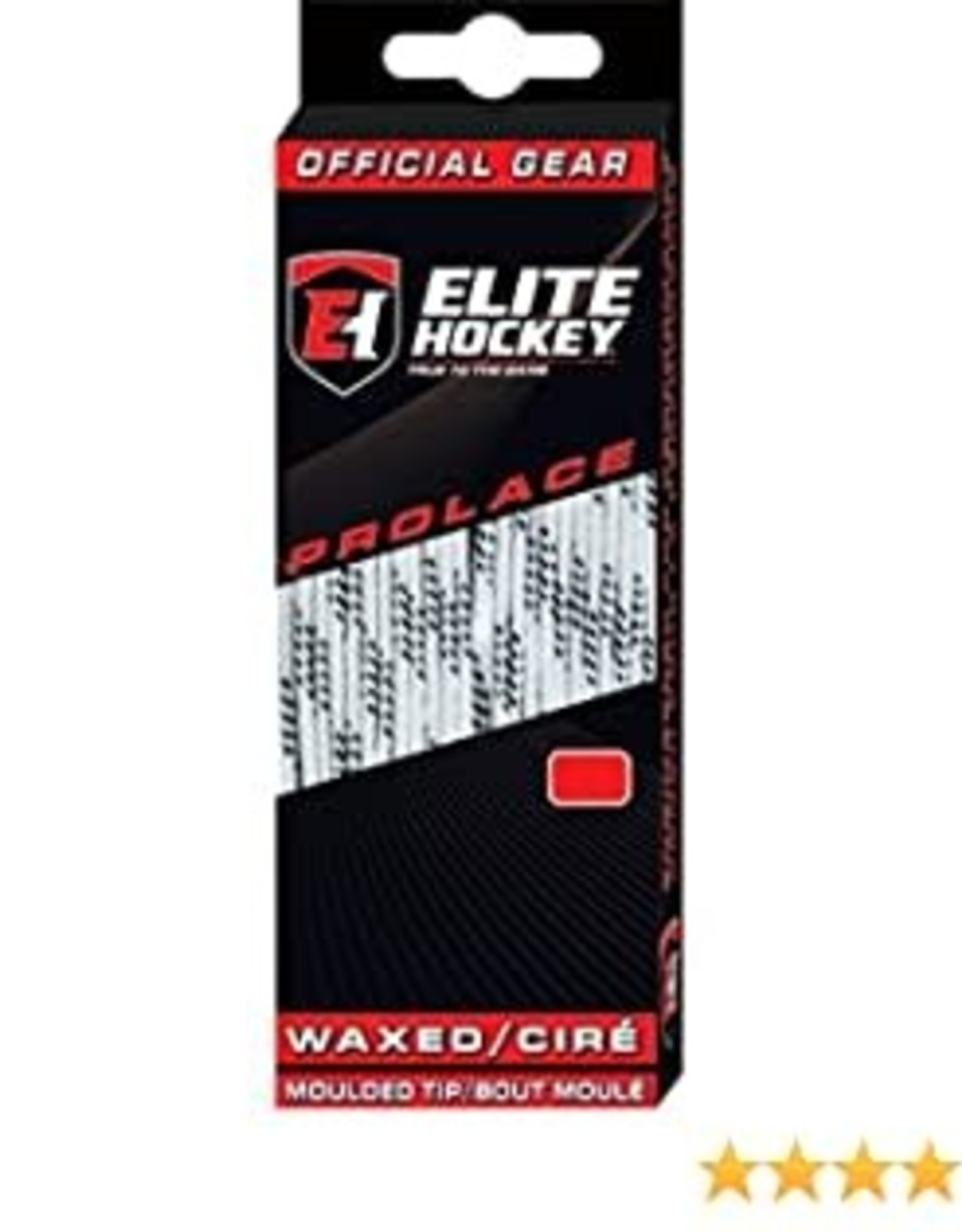 """ELITE HOCKEY ELITE WHITE WAXED MOLDED TIP LACES 108"""" ADULT SIZE : 7-9"""