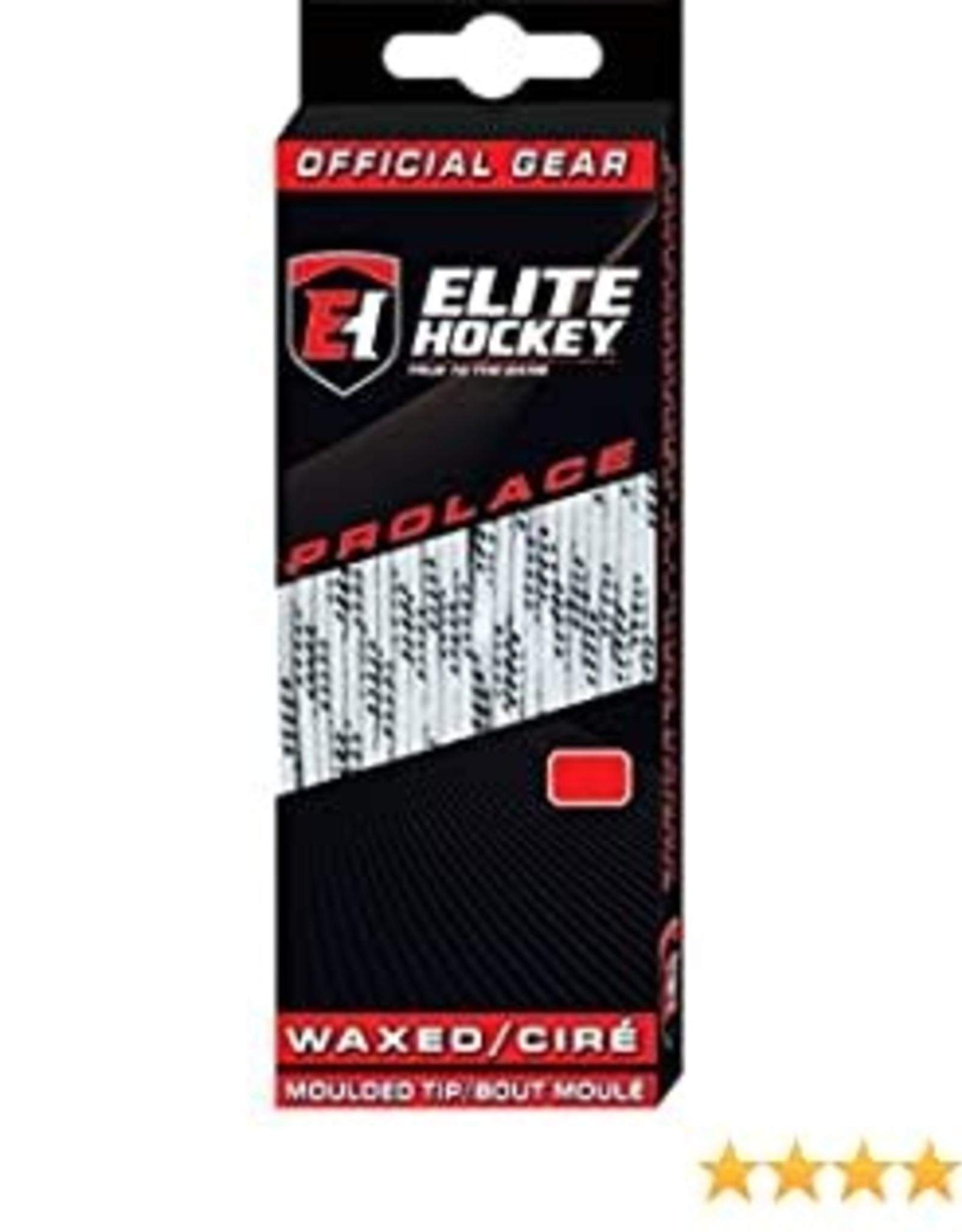 """ELITE HOCKEY ELITE WHITE WAXED MOLDED TIP LACES 96"""" ADULT 5.5 - 7"""