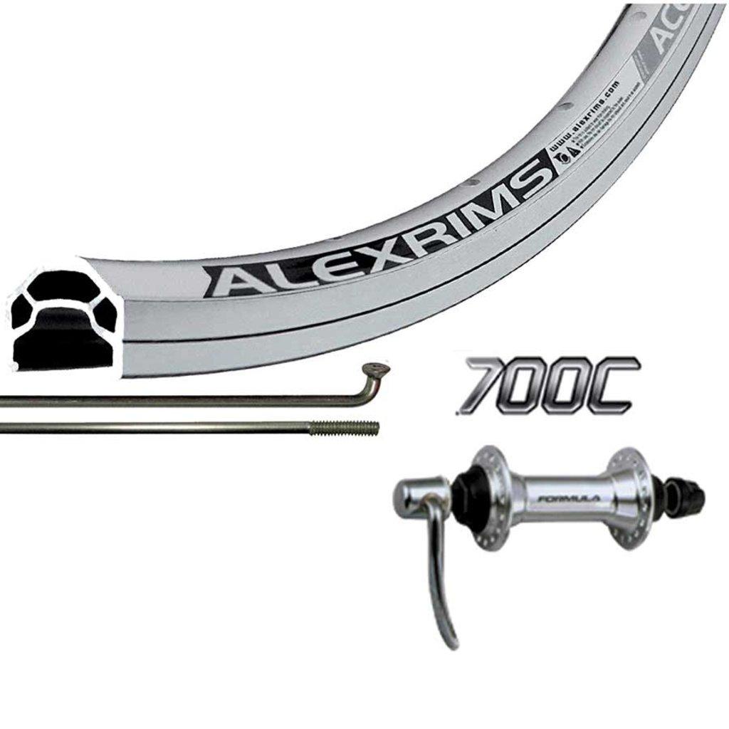 Wheel Shop 700cc Wheel Rim QR Silver Alex Ace17 Silver/ Formula FM-21-QR, Wheel, Front, 700C / 622, Holes: 36, QR