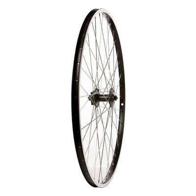 Wheel Shop Wheel Shop, Alex DM18 Black/ Shimano HB-M475, Wheel, Front, 700C / 622, Holes: 36, QR, 100mm, Rim and Disc IS 6-bolt