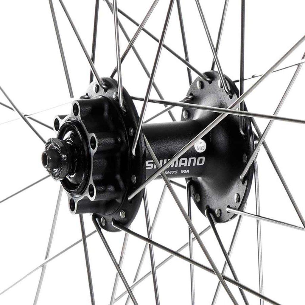 Wheel Shop Wheel Shop, Alex DM18 Black/ Shimano HB-M475, Wheel, Front, 700C / 622, Holes: 36, QR, 100mm, Rim and Disc IS 6-bolt