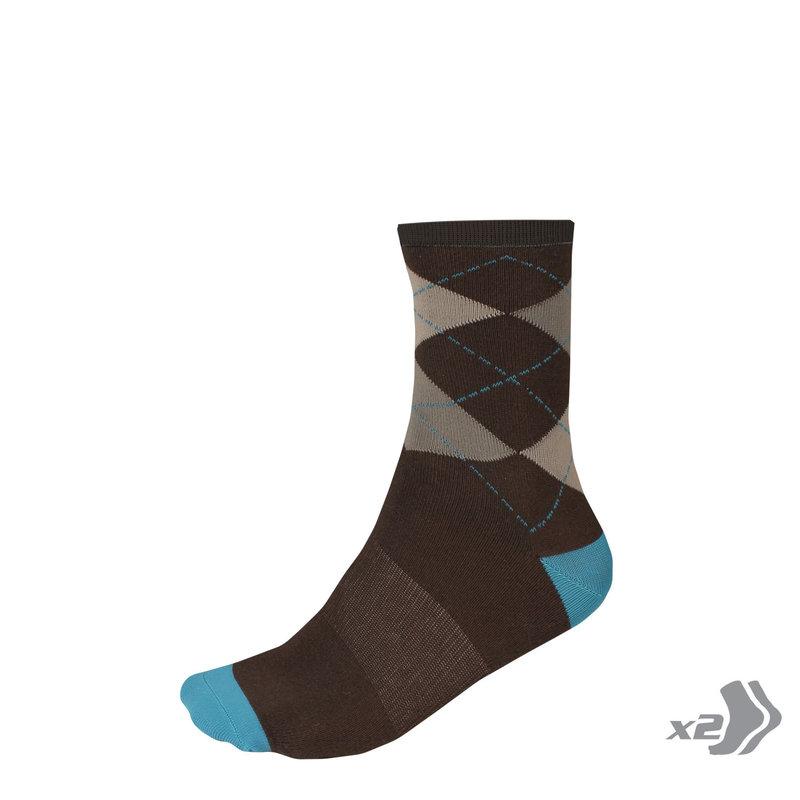 ENDURA ARGYLL Socks 2 pairs BURGUNDY - S/M