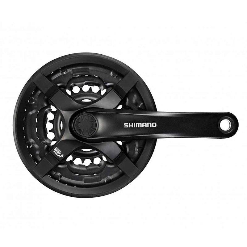 Shimano Shimano, FC-TY501, Crankset, 6/7/8 sp., 175mm, 28/38/48T w/CG, Riveted, Square, 47.5mm, Black