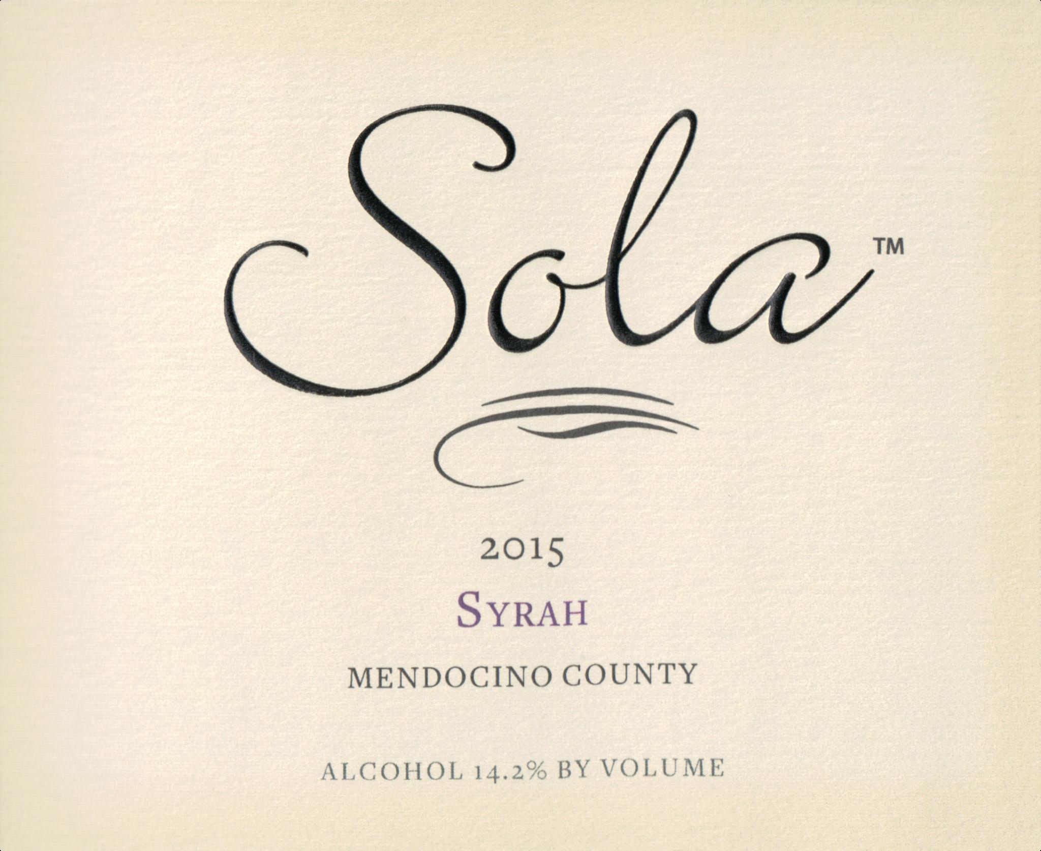 Sola, Syrah Mendocino (2015)