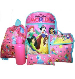 Disney Princess 5 pc Backpack Set
