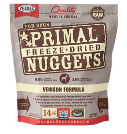 Primal Pet Foods Dog Raw Freeze-Dried Venison Nuggets 14oz