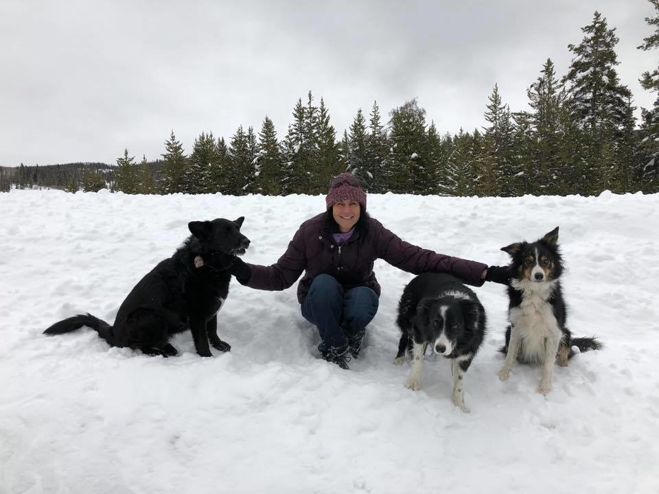 Owner, Myra, and her pups