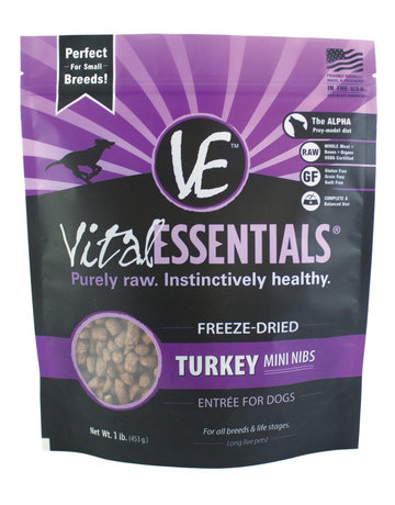 Vital Essentials Turkey Mini Nibs Freeze-Dried Grain Free Dog Food 1lb