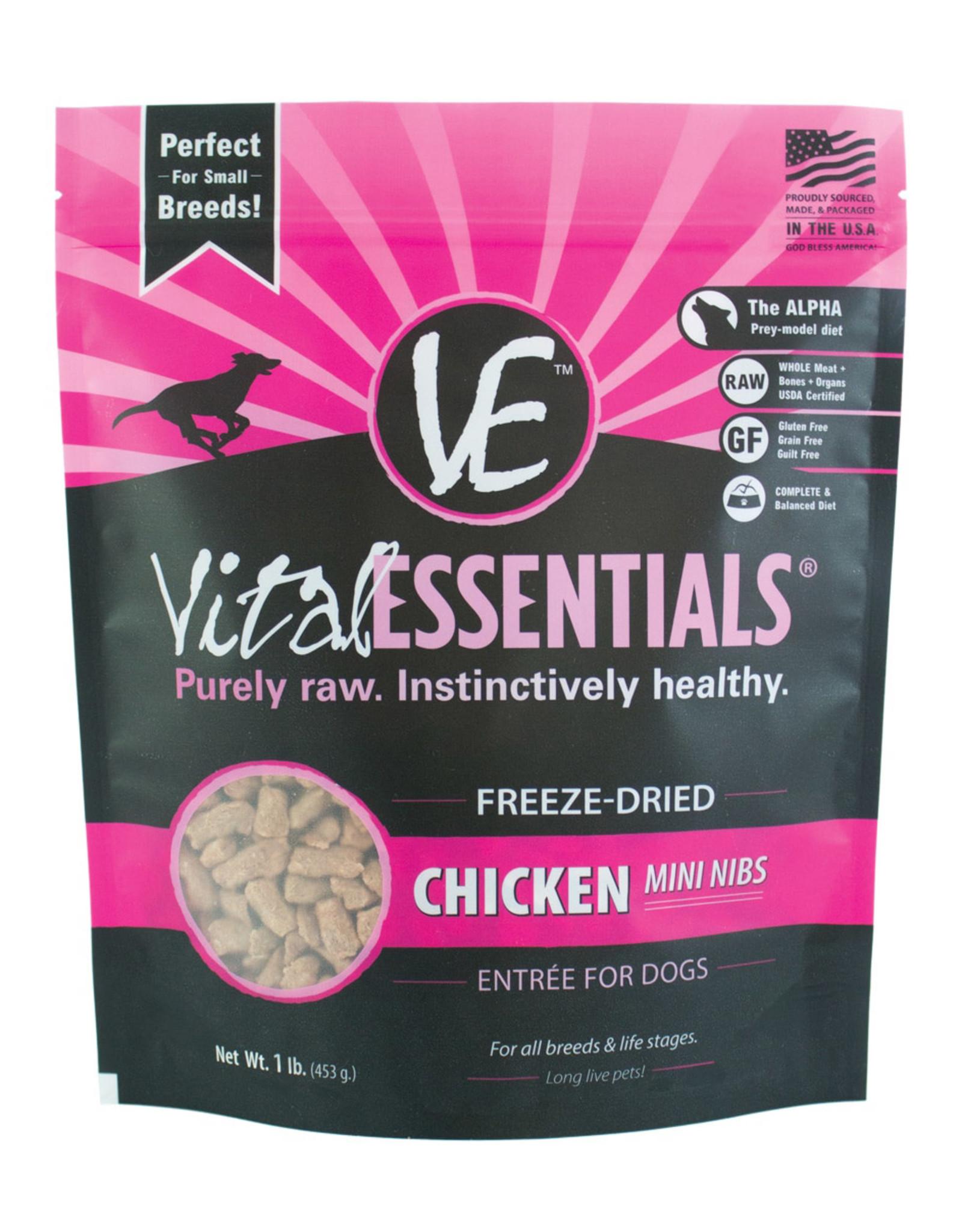 Vital Essentials Chicken Mini Nibs Freeze-Dried Grain Free Dog Food 1lb