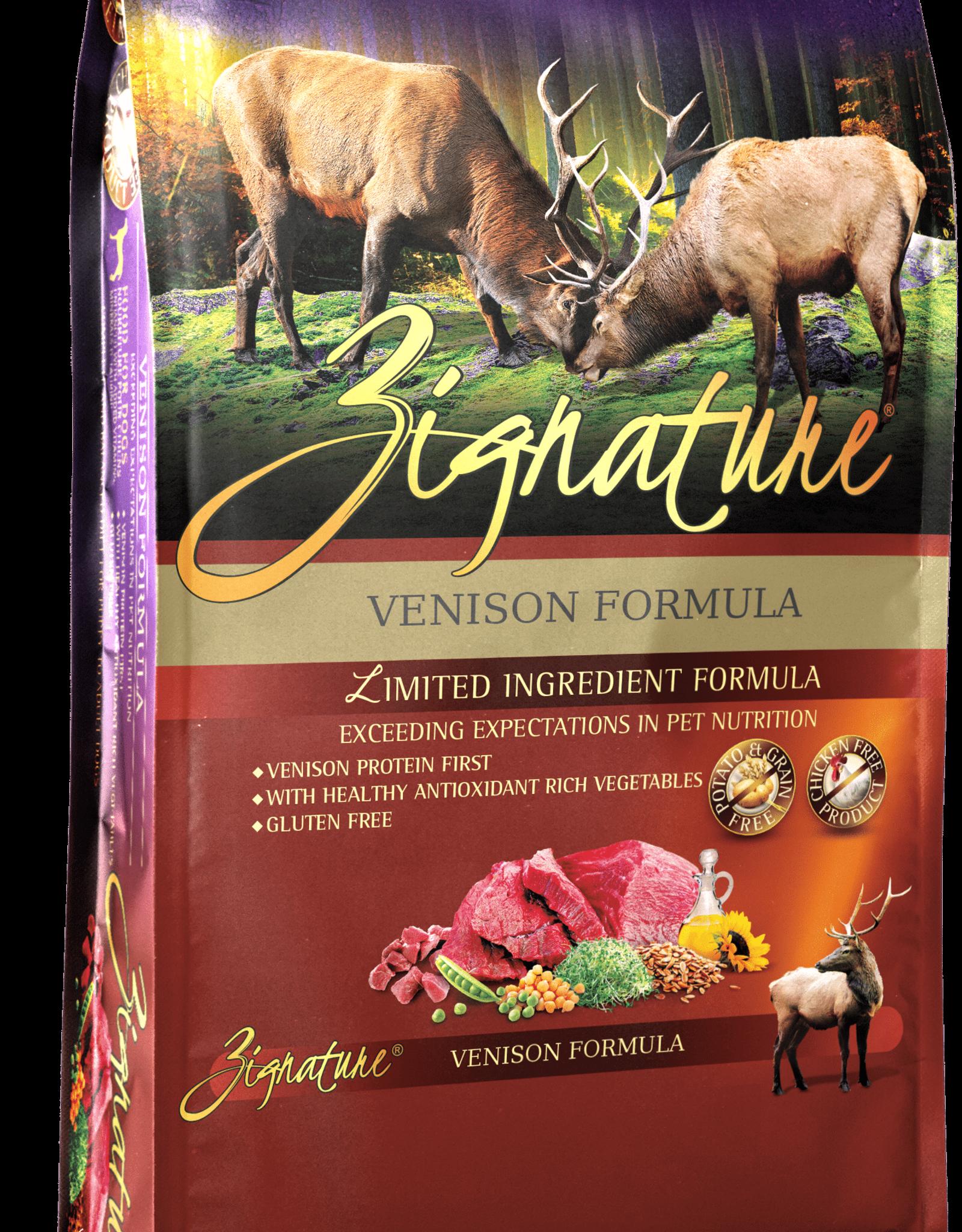 Zignature Dog Venison Formula - Grain-Free 27lb