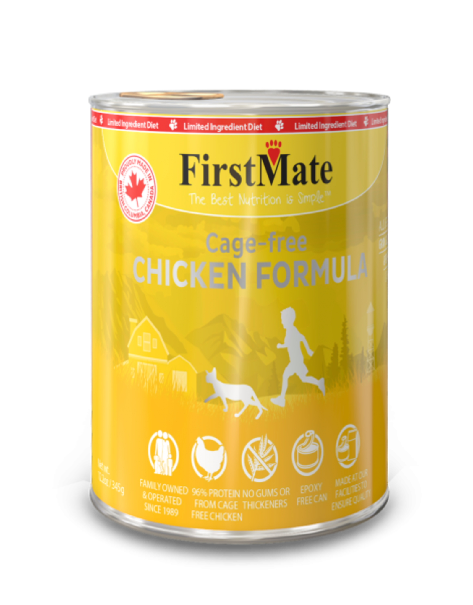 FirstMate Pet Food Cat LID Chicken Pate - Grain-Free 12oz