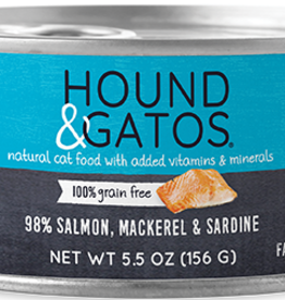 Hound & Gatos Cat 98% Salmon, Mackerel, & Sardine Pate - Grain-Free 5.5oz